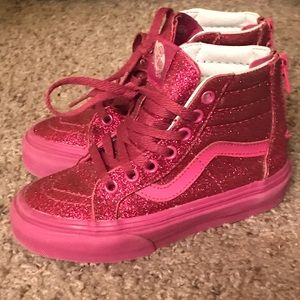 LIKE NEW Classic Vans hightop in HOT PINK GLITTER